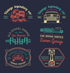 garage logos set car repair emblems collection vector image vector image