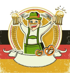 German man and beersVintage oktoberfest symbol on vector image