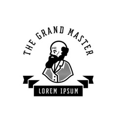Grand master logo with old man with beard vector