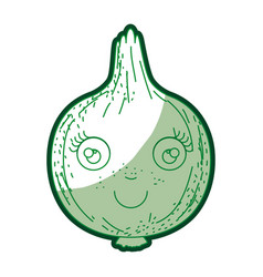 green silhouette of onion caricature in closeup vector image
