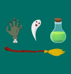 halloween icons pumpkin flask broom ghost vector image