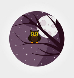 Halloween owl with large eyes sitting on a branch vector