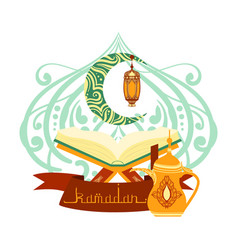 Holy book of quran with lamp ramadan greeting vector