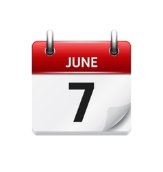 June 7 flat daily calendar icon date and vector