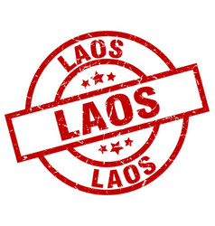 Laos red round grunge stamp vector