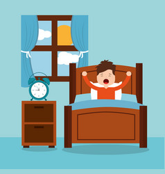 Little boy wake up in the morning vector