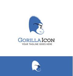 logo design of a blue gorilla wearing glasses vector image vector image