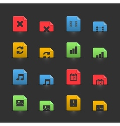 Online media icons set on moving stubs vector