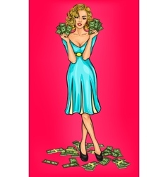 pop art girl with cash vector image vector image