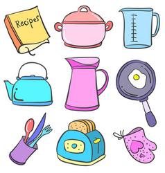 set of equipment kitchen doodles vector image vector image