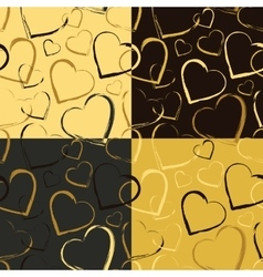 Set of Golden Hearts Seamless patterns vector image vector image