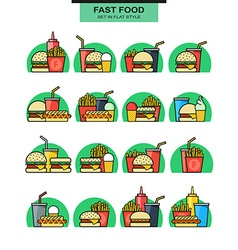 Sets icons burgers with drinks potato fries and vector image