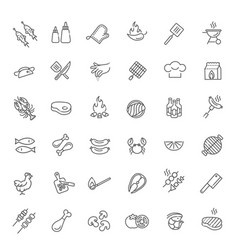 simple set of barbecue related line icons vector image vector image