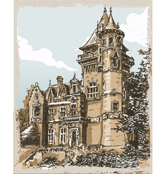 Vintage hand drawn view of old castle in belgium vector
