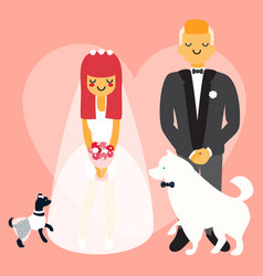 Wedding couple with dogs cartoon people vector