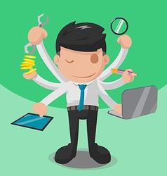 Worker multitask business finance hand vector