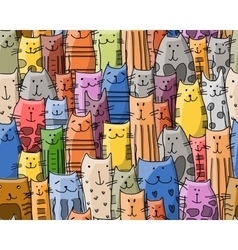 Funny cats family seamless pattern for your vector