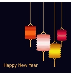 Set of chineese lanters decoration colorful vector