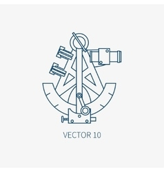 Line flat blue marine icon with nautical vector