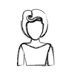 Blurred silhouette drawing of faceless half body vector
