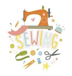 Design with sewing machine vector