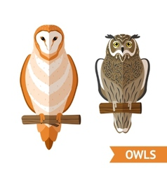 Owls front set vector