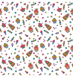 Cute sweet seamless pattern birthday background vector