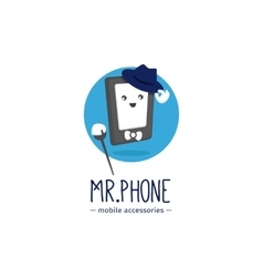 Funny phone accessories store logotype vector