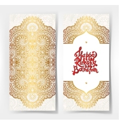 Gold and red happy rakhi greeting card vector