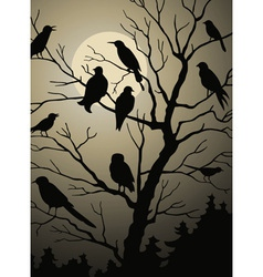birds on the tree vector image