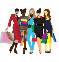 womens with shopping vector image