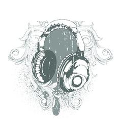headphones emblem vector image