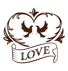 Graphic vintage heart and ribbon vector