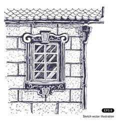 Beautiful window brick wall vector image