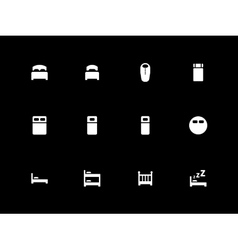 Bed icons on black background vector
