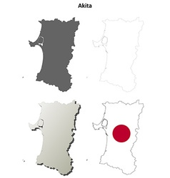 Akita blank outline map set vector