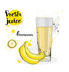 Banana juice fresh hand drawn watercolor fruits vector