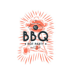 bbq grill and typographic emblem vector image vector image