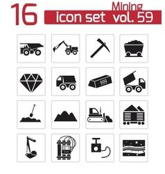 Black mining icons set vector