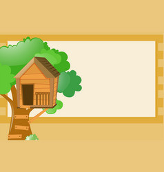border template with treehouse background vector image