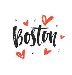 Boston modern city hand written brush lettering vector