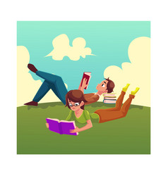 boy man reading book woman in glasses reading vector image