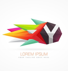 colorful abstract logo with letter Y vector image