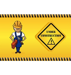 Constructor man cartoon under construction sign vector image vector image