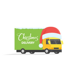 Delivery transport truck van with gift box pack vector