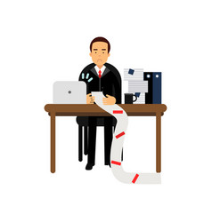 Disappointed businessman character looking at long vector