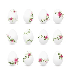 Easter eggs collection floral desogn vector