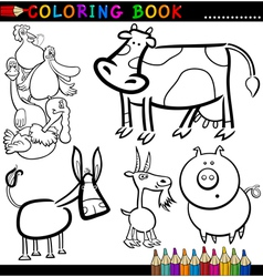 Farm animals for coloring book or page vector