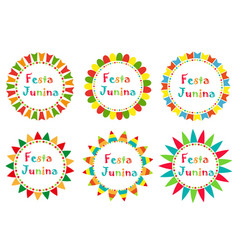 Festa junina set frame with space for text vector