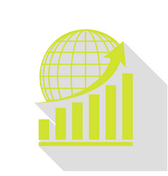 Growing graph with earth pear icon with flat vector